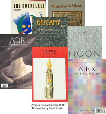 photos of publications' covers: Alaska Quarterly, Antioch Review, Descant, New England Review, Noon, Quarterly West, Story Quarterly, The Quarterly
